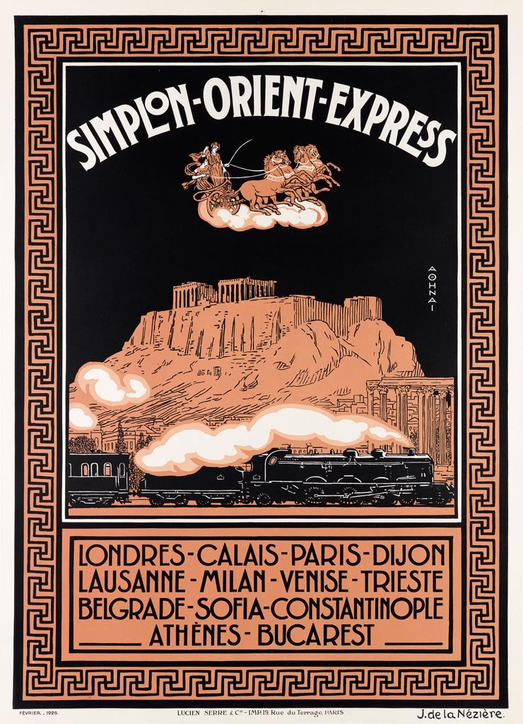 JOSEPH DE LA NÉZIÈRE (1873-1944). SIMPLON - ORIENT - EXPRESS. 1926. 41x30 inches, 106x76 cm. Lucien Serre, & Cie., Paris.