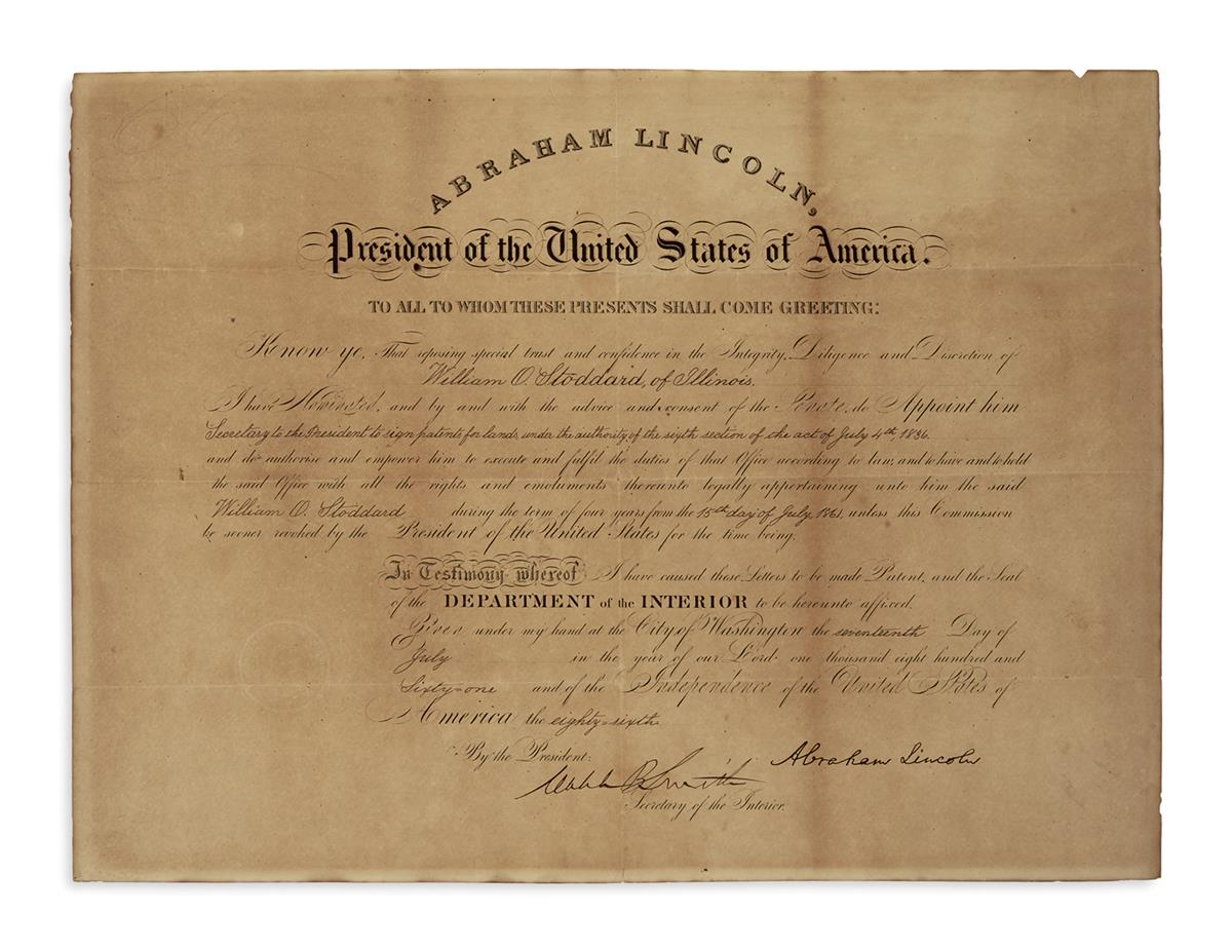 (AUTOGRAPHS.) Commission of William O. Stoddard as secretary to the president, signed by Lincoln.