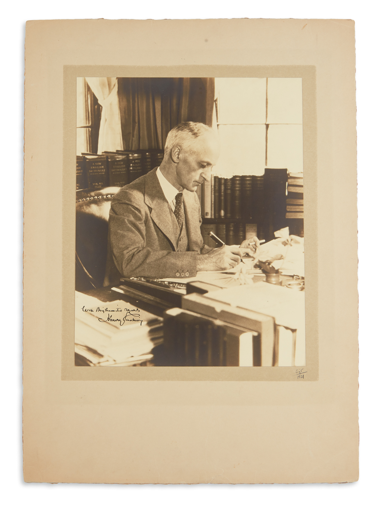 HARVEY CUSHING. Photograph Signed and Inscribed, With Brighamitic regards, half-length seated portrait by Rich...