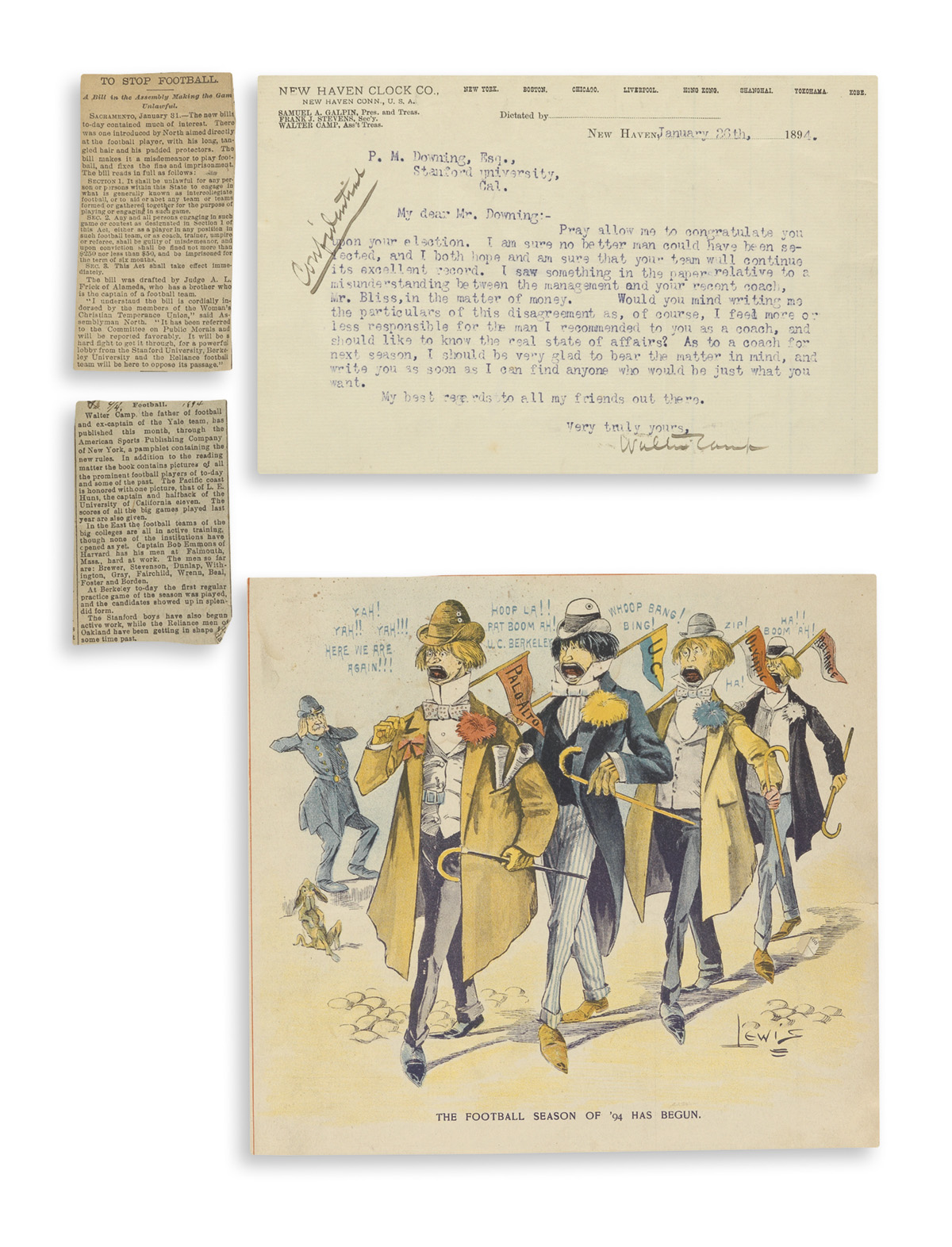 (SPORTS--FOOTBALL.) Scrapbook on early Stanford football, including letters from Walter Camp.