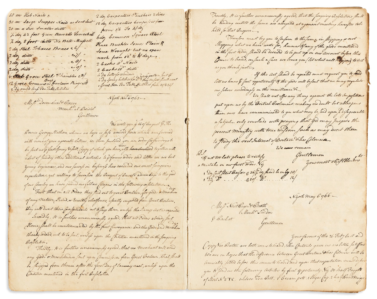 (AMERICAN REVOLUTION--PRELUDE.) Opposition to the Stamp Act as seen in the letterbook of a New York iron merchant.