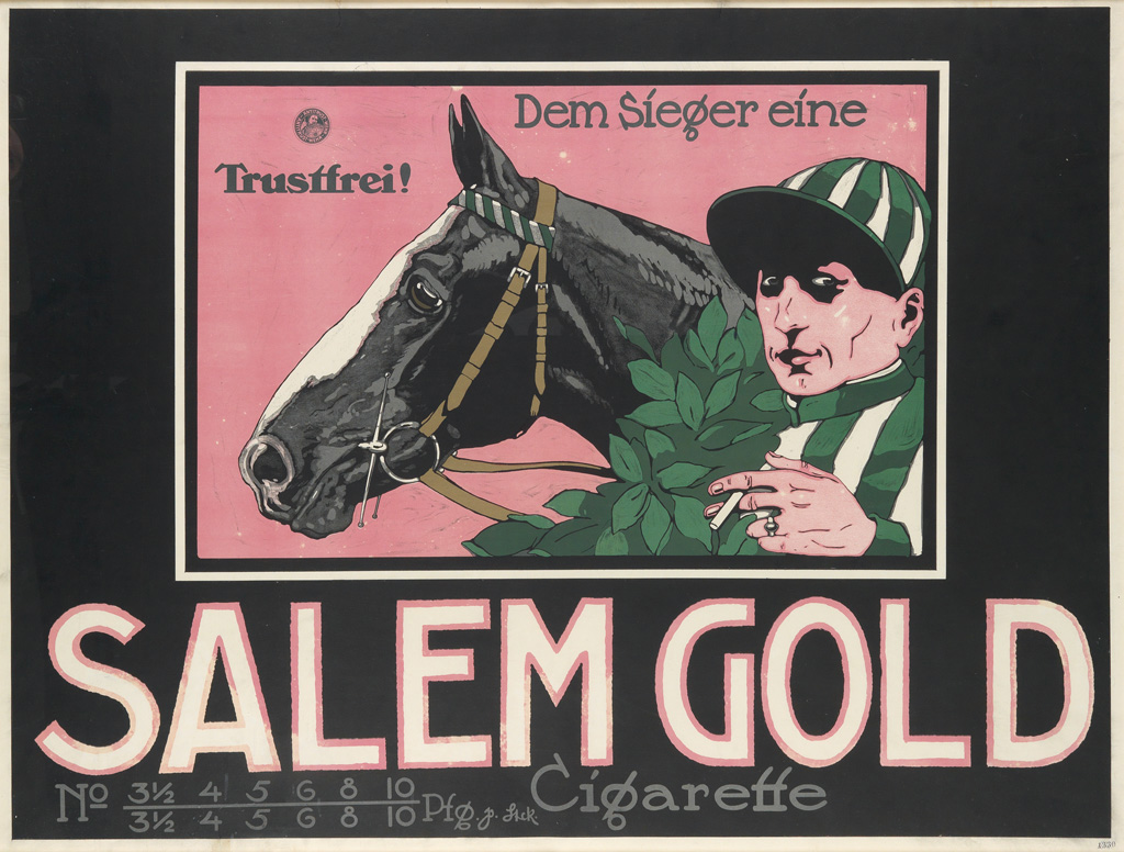 DESIGNER UNKNOWN.  SALEM GOLD CIGARETTE. Circa 1910. 36x47 inches, 91x125 cm.