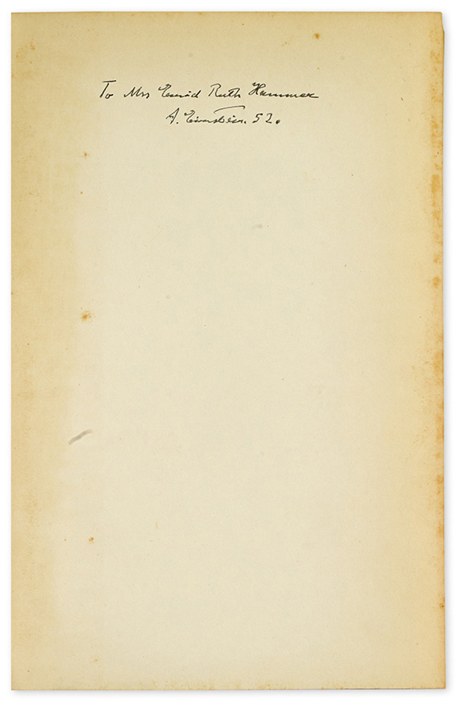 EINSTEIN, ALBERT. Out of My Later Years. Signed and Inscribed, on front free endpaper: To Mrs. Enid Ruth Hammer / A. Einstein 52.