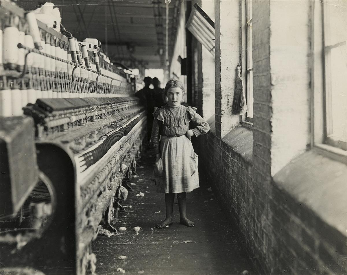 LEWIS W. HINE (1874-1940) Barefoot Child Worker at Taxaway Cotton Mill, Anderson, SC.