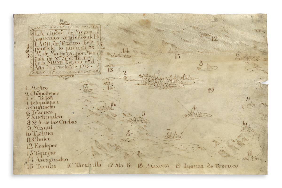 (MEXICAN MANUSCRIPTS.) Mayorga, Antonio de. Late colonial map of Mexico City and the surrounding towns and landscape.
