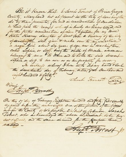 (SLAVERY AND ABOLITION.) Manuscript document signed by Sarah Forrest, giving Sophia, or Soff, a negro girl of about six to her niec