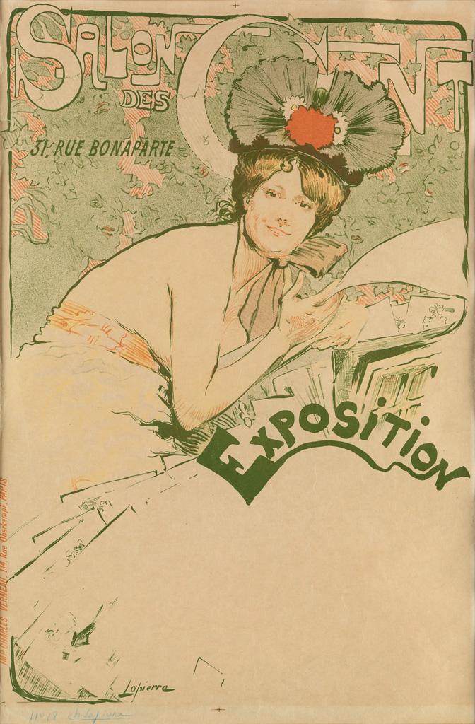 CHARLES LAPIERRE (1867-?).  SALON DES CENT. 1895. 23x15 inches, 59x39 cm. Charles Verneau, Paris.