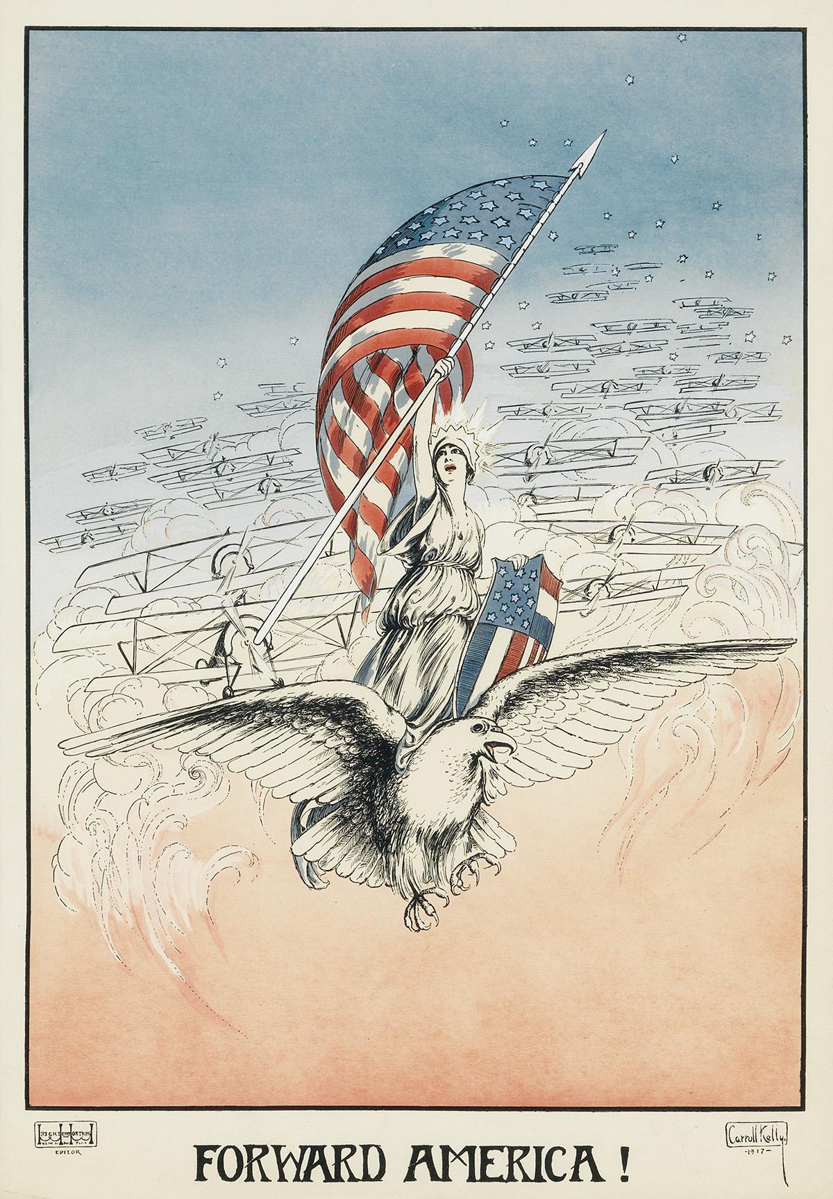 CARROLL-KELLY-(DATES-UNKNOWN)-FORWARD-AMERICA-1917-21x14-inc