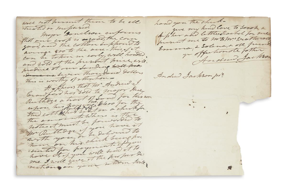 JACKSON, ANDREW. Autograph Letter Signed, as President, to his adoptive son Andrew Jackson, Jr.,