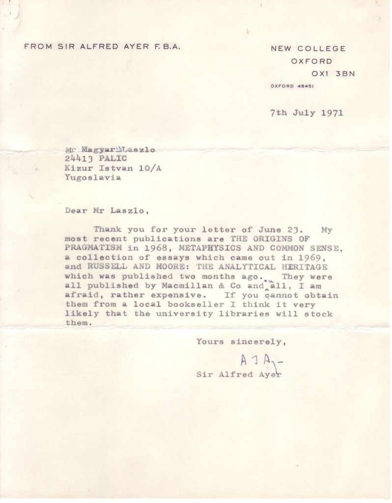 AYER-AJ-Typed-Letter-Signed-to-László-Magyar-listing-his-rec