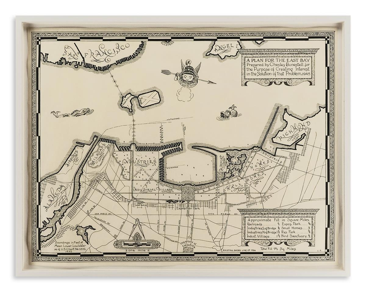(MANUSCRIPT MAP.) Bonestell, Chesley. A Plan for the East Bay