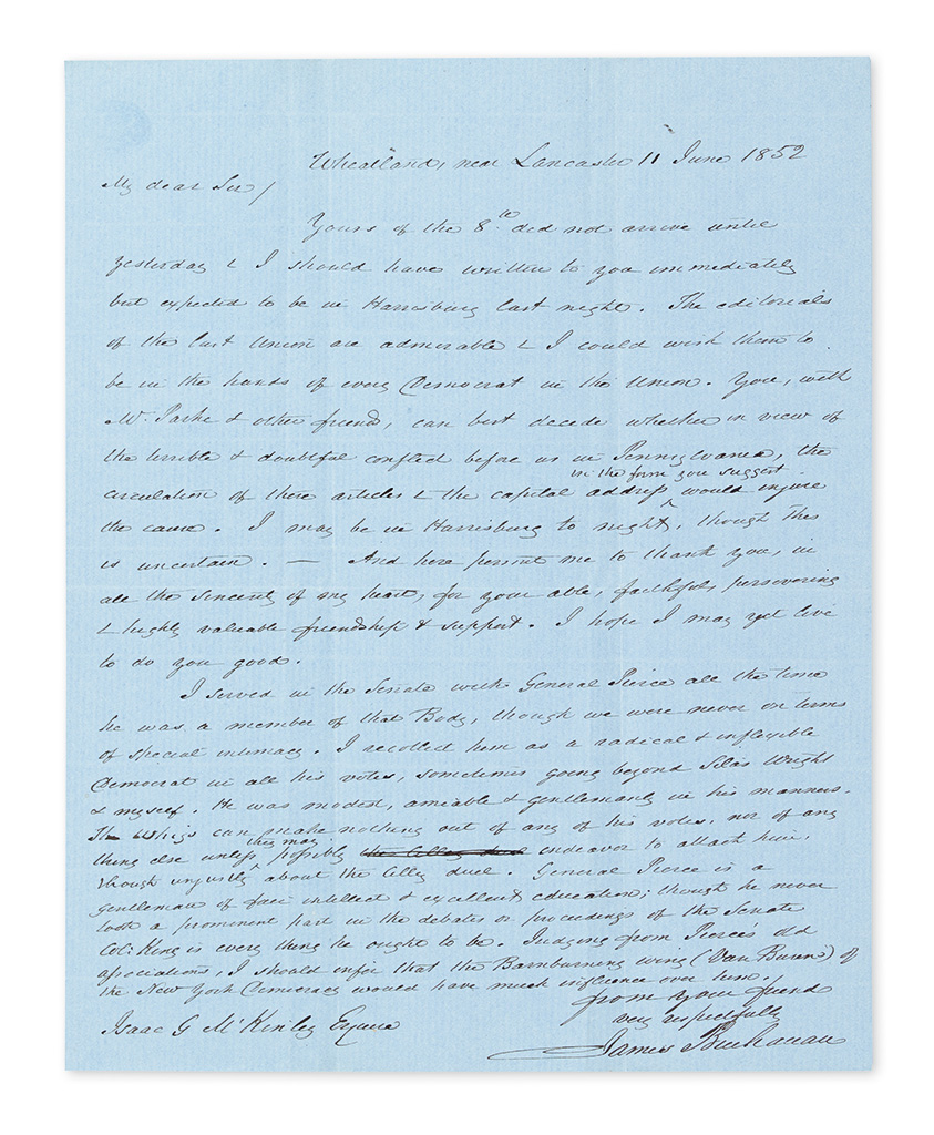 BUCHANAN, JAMES. Autograph Letter Signed, to editor of the Harrisburg Democratic Union Isaac G. McKinley,