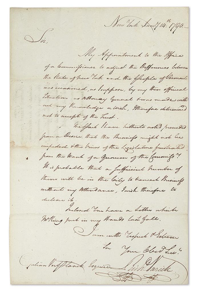(VERMONT)-VARICK-RICHARD-Autograph-Letter-Signed-RichdVarick