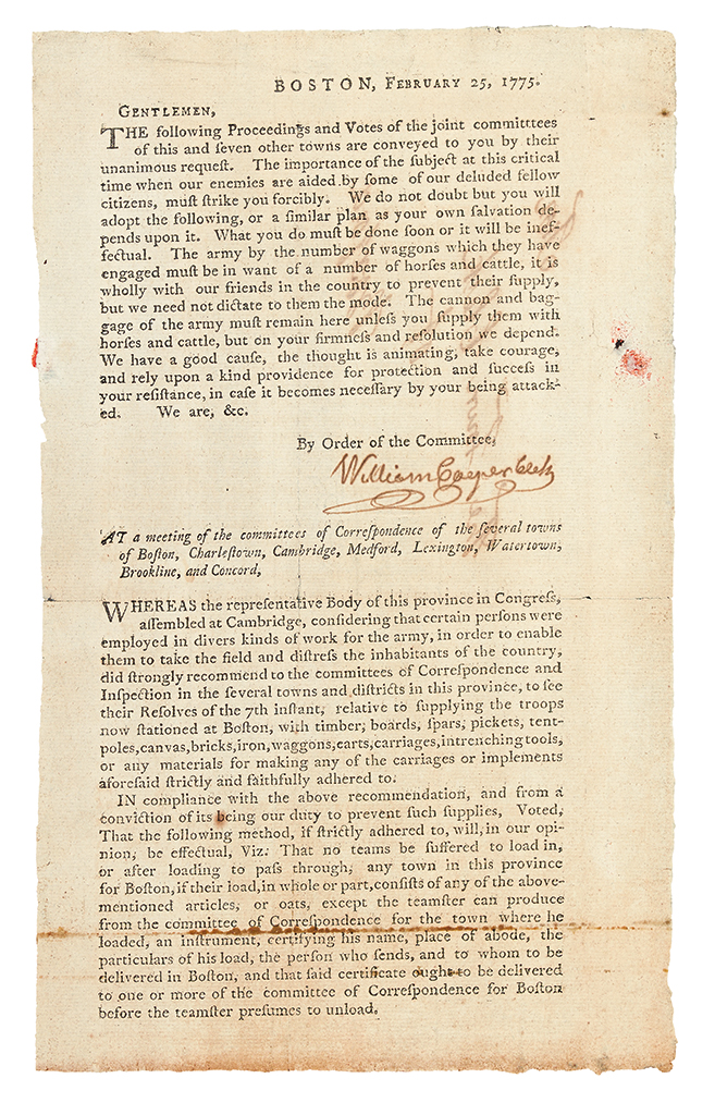 (AMERICAN REVOLUTION--PRELUDE.) Circular letter from the Boston-area Committees of Correspondence.