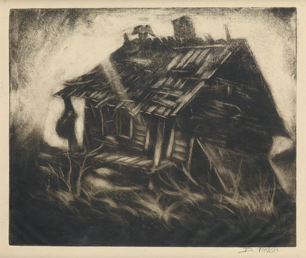 DOX THRASH (1893 - 1965) Ruined Cabin.