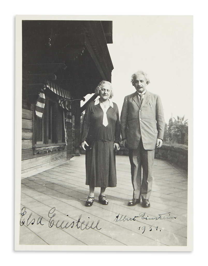 (SCIENTISTS.) EINSTEIN, ALBERT AND ELSA. Photograph Signed, by both (Albert Einstein and Elsa Einstein), and dated by Albert,