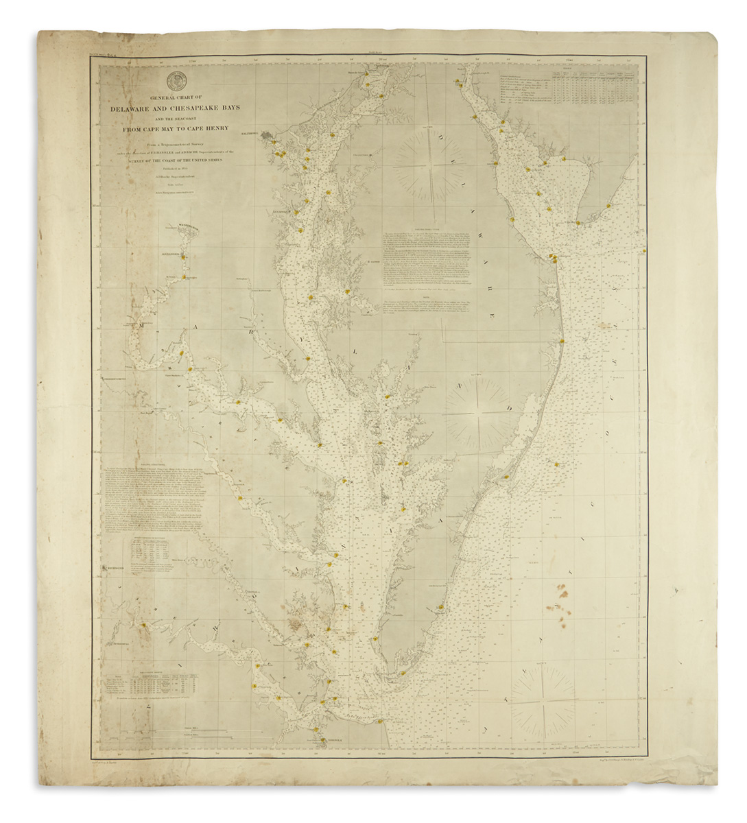 (CHARTS.) U.S. Coast Survey. General Chart of Delaware and Chesapeake Bays and the Seacoast from Cape May to Cape Henry.