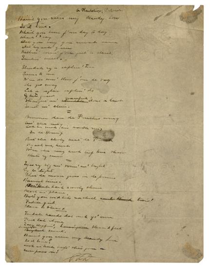 (LITERATURE AND POETRY.) DUNBAR, PAUL LAWRENCE. Original Autograph Manuscript Signed for A Plantation Portrait.