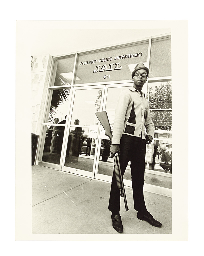 (BLACK PANTHERS.) REISTERER, RON; PHOTOGRAPHER. Six large gelatin silver print photographs of the Black Panthers and related images.