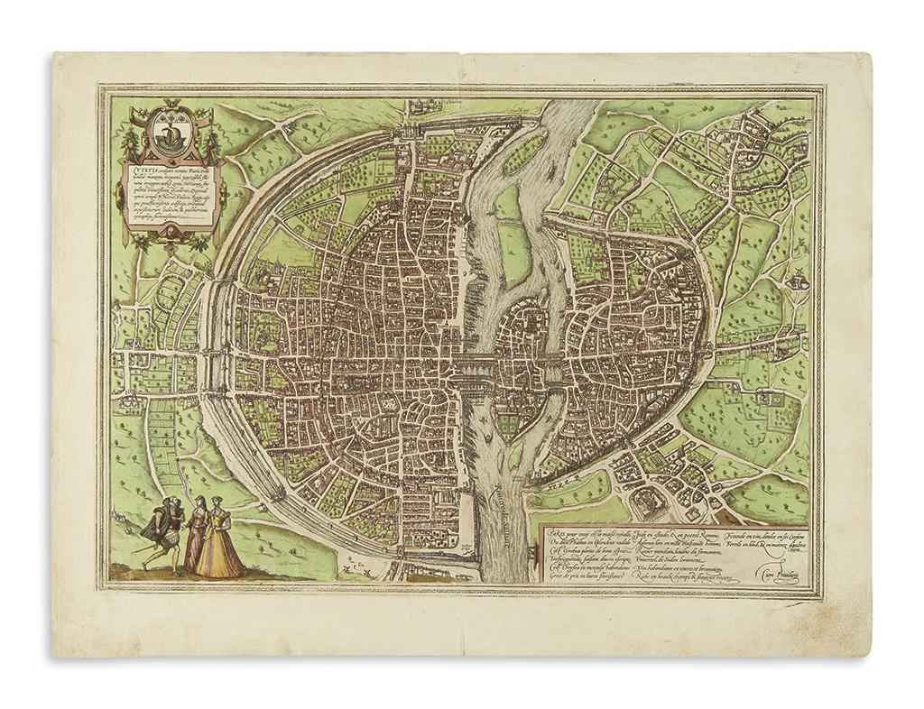 (PARIS.) Braun, Georg; and Hogenberg, Franz. Lutetia vulgari Nomine Paris, Urbs Galliae Maxima.