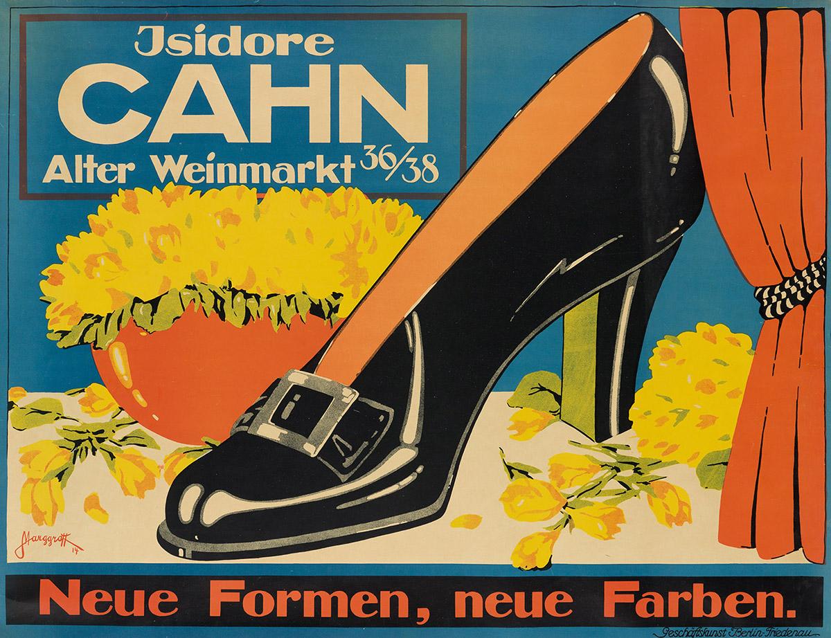 GERHARD MARGGRAFF (1892-?).  ISIDORE CAHN / NEUE FORMEN, NEUE FARBEN. 1914. 28x37 inches, 71x94 cm. Geschaftskunst Berlin.