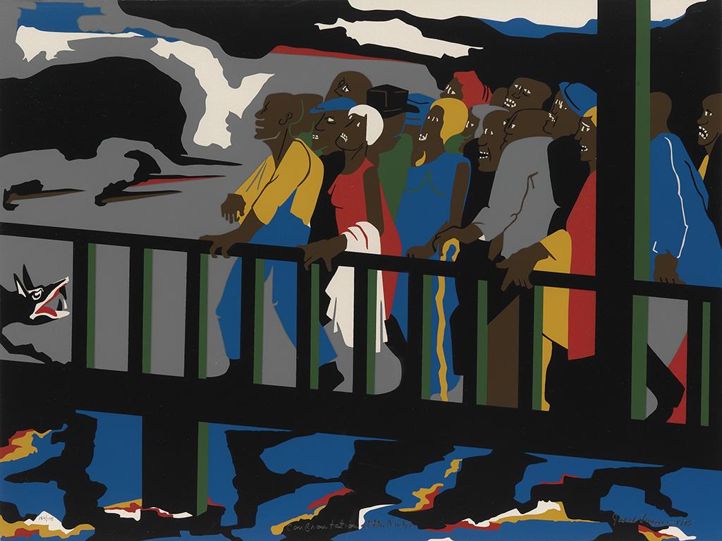 JACOB LAWRENCE (1917 - 2000) Confrontation on the Bridge.