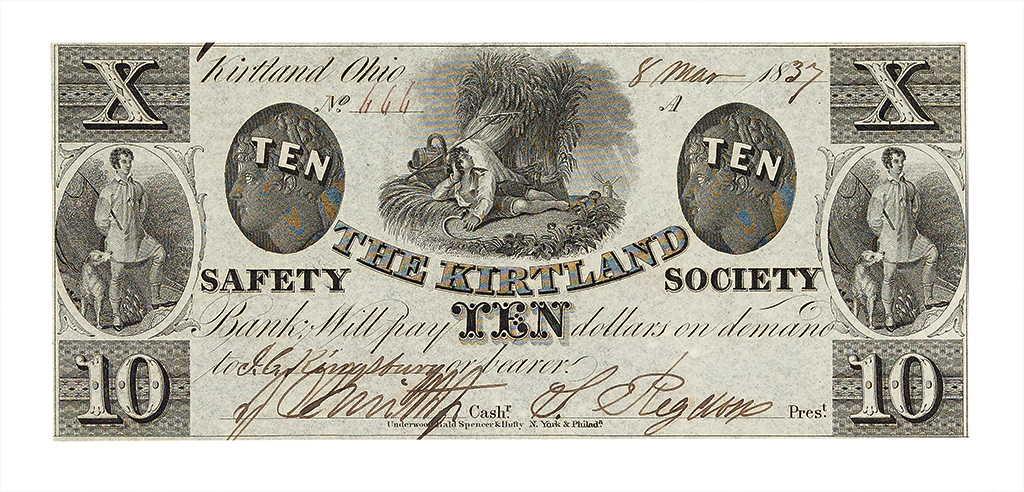 (MORMONS.) $10.00 obsolete banknote issued by the Kirtland Safety Society Bank.