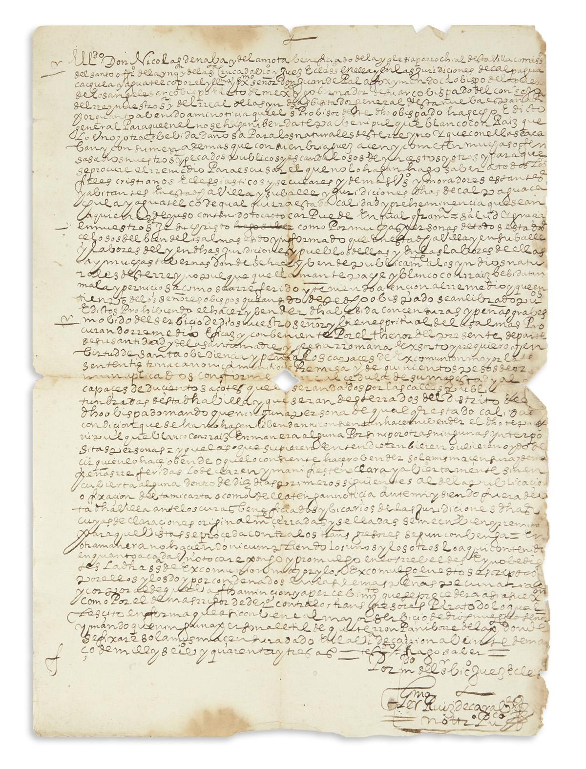 (MEXICAN MANUSCRIPTS.) Nava y de la Mota, Nicolás de. Edict against the drinking and production of alcohol by Indians in Puebla.