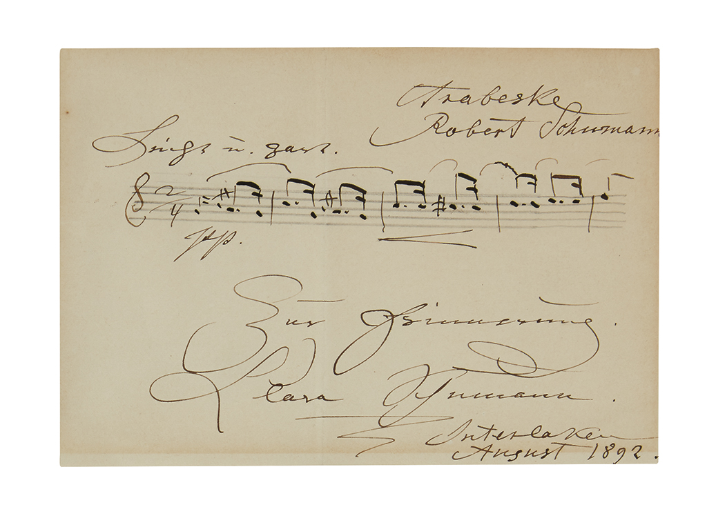 SCHUMANN, CLARA. Autograph Musical Quotation Signed and Inscribed, In remembrance, in German, 5 bars from Robert Schumanns Arabeske