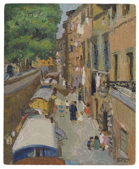 LÖIS-MAILOU-JONES-(1905---1988)-Untitled-(Rome-Street-Scene)
