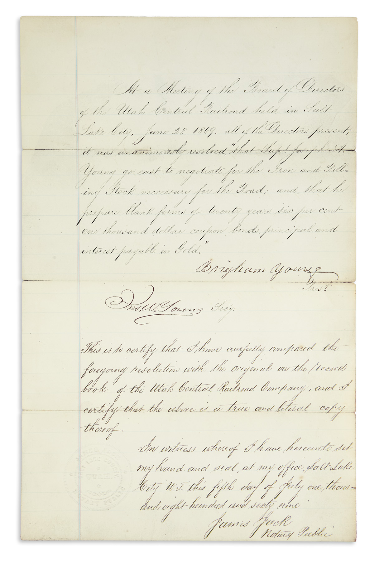 YOUNG-BRIGHAM-Document-Signed-as-President-of-the-Utah-Centr
