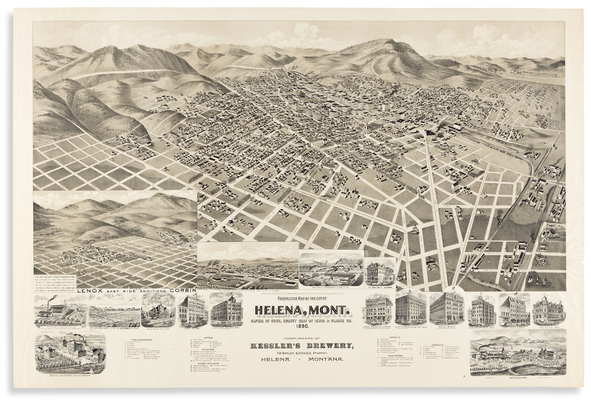 (MONTANA.) Perspective Map of the City of Helena, Mont... Compliments of Kesslers Brewery.