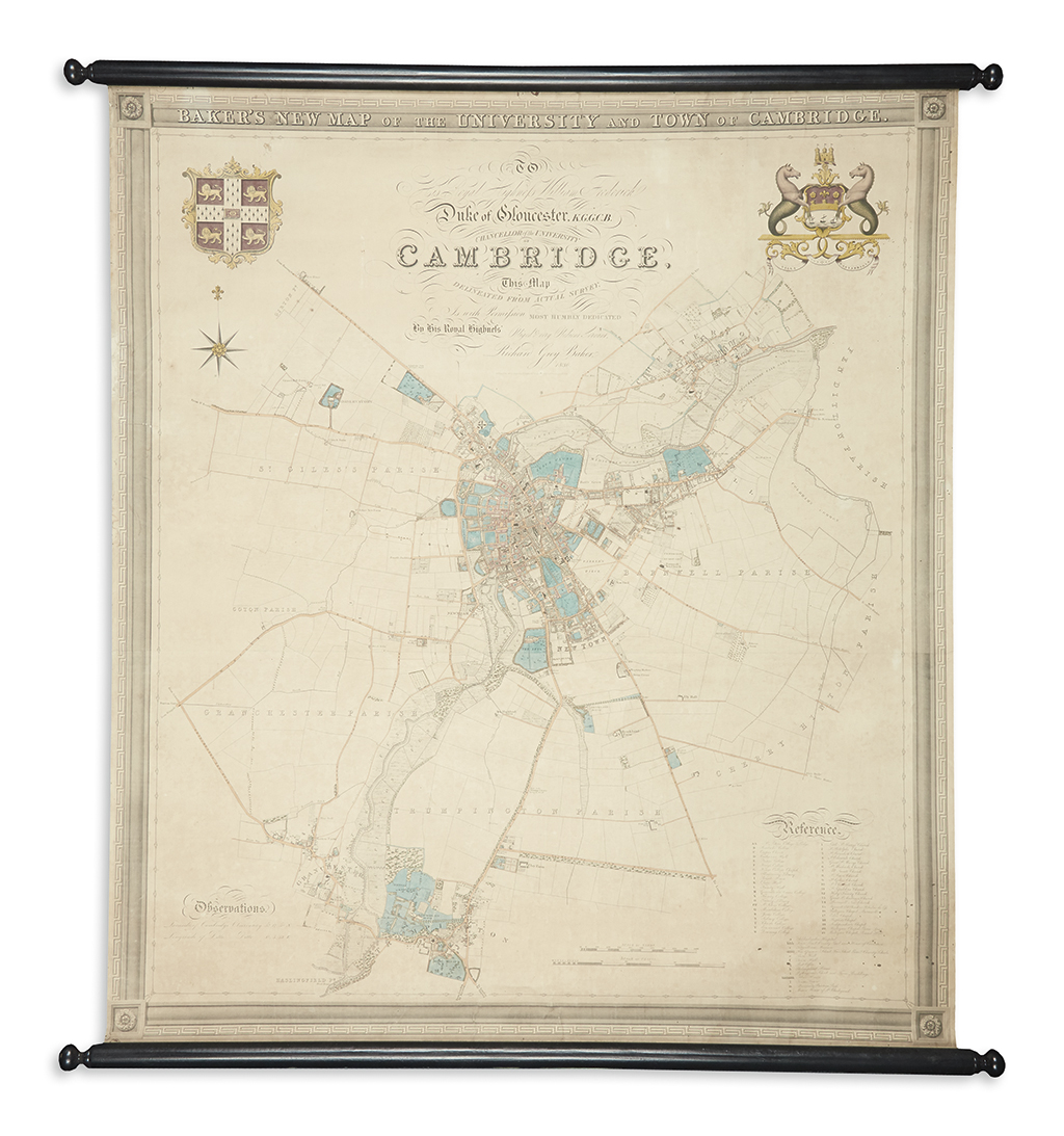 BAKER, RICHARD GREY. Bakers New Map of the University and Town of Cambridge.