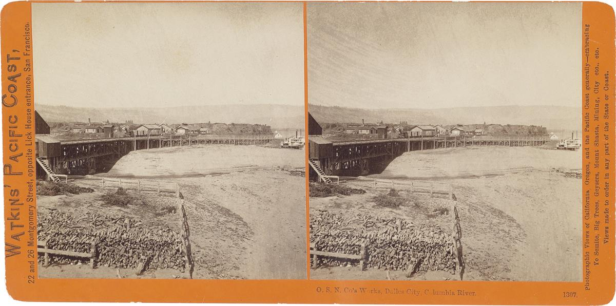 CARLETON E. WATKINS (1829-1916) Group of approximately 65 stereo views with Watkins Union Pacific Railroad, New Series, and Pacific Co