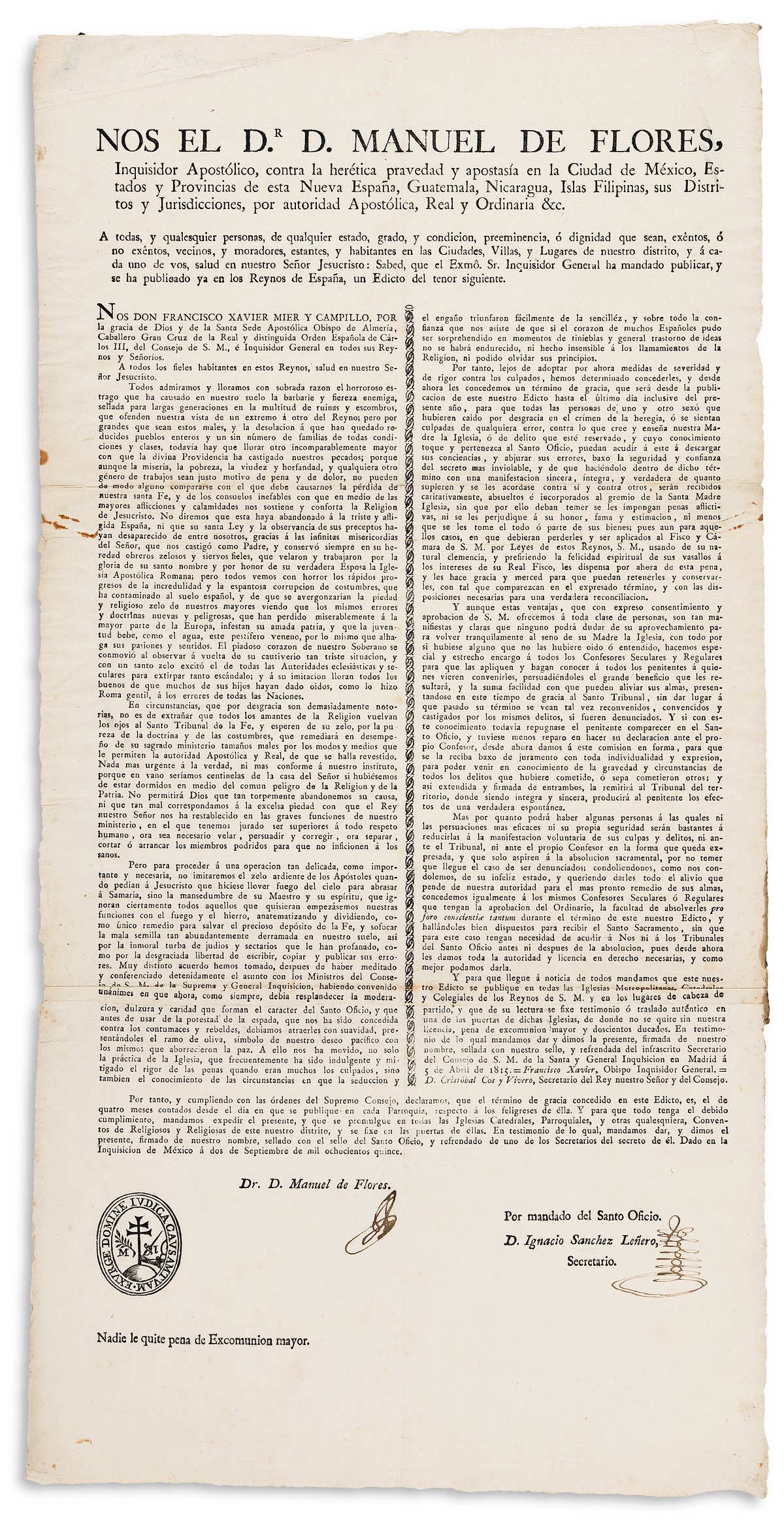 (MEXICAN IMPRINT--1815.) Manuel de Flores. Late colonial Inquisition broadside ordering the cessation of heretical opinions.