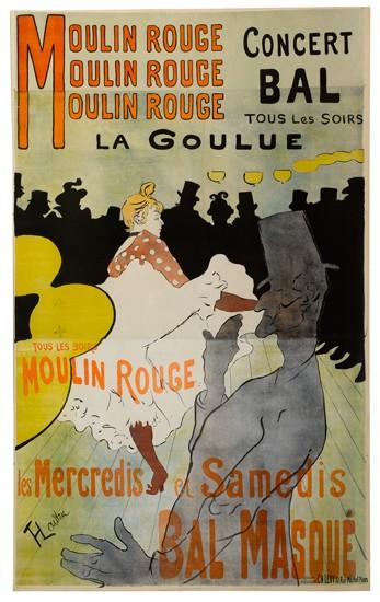 HENRI DE TOULOUSE-LAUTREC (1864-1901). MOULIN ROUGE. 1891. 76x46 inches. Ch. Levy, Paris.