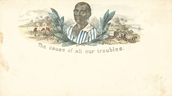 (MILITARY--CIVIL WAR.) PATRIOTIC COVERS--CONFEDERATE. The Cause of all our troubles.