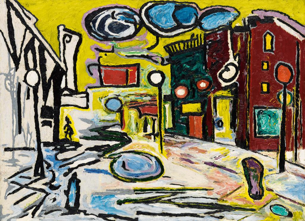 BEAUFORD DELANEY (1901 - 1979) Untitled (Village Street Scene).