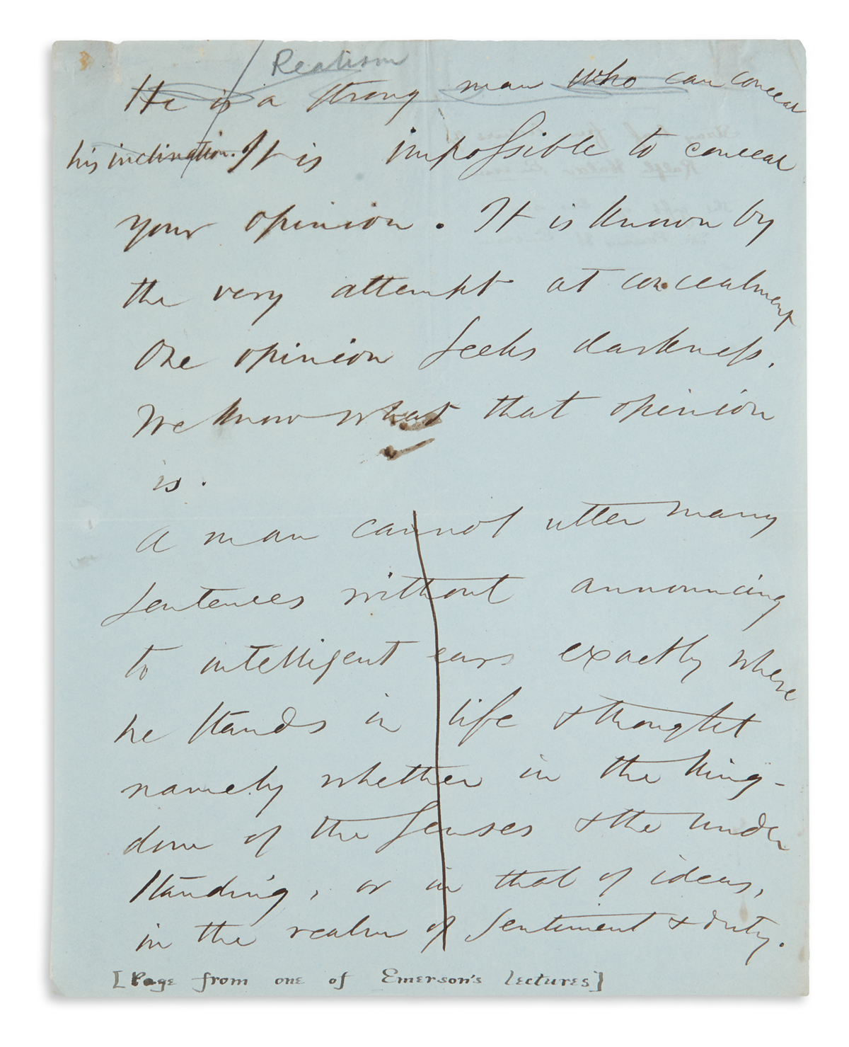 LEAF FROM HIS NOTEBOOK RALPH WALDO EMERSON. Autograph Manuscript, unsigned, fragment of 14 lines in i...