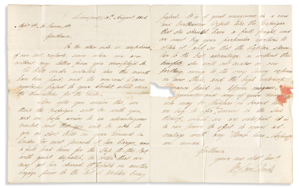 (SLAVERY AND ABOLITION.) William & Samuel Hinde. Letter from a British slave-trading firm in the waning days of the legal slave trade.