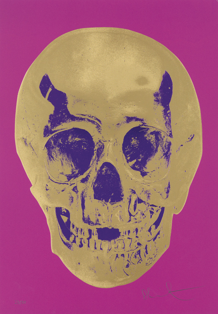 DAMIEN HIRST Till Death Do Us Part--Long Life Purple African Gold Purple Imperial Purple Skull.