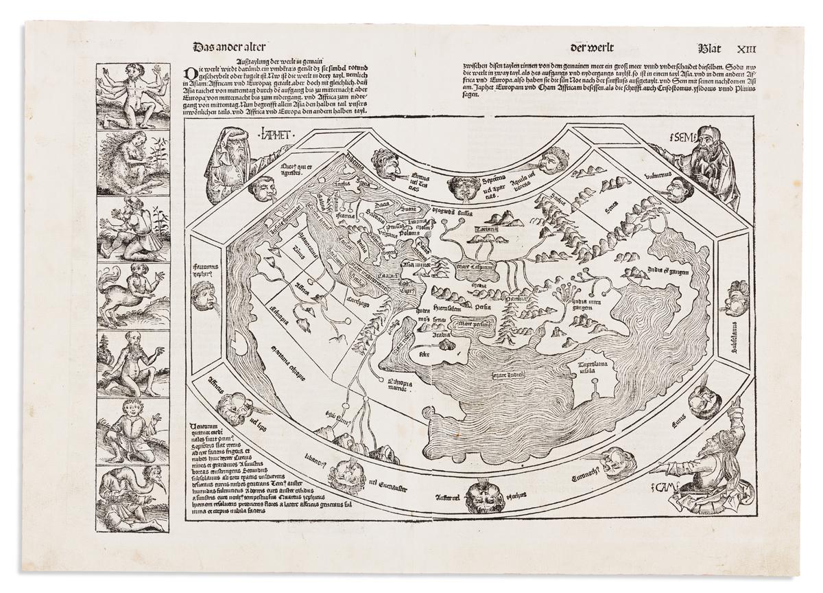 SCHEDEL, HARTMANN. [World Map.] Das Ander Alter Der Werlt.