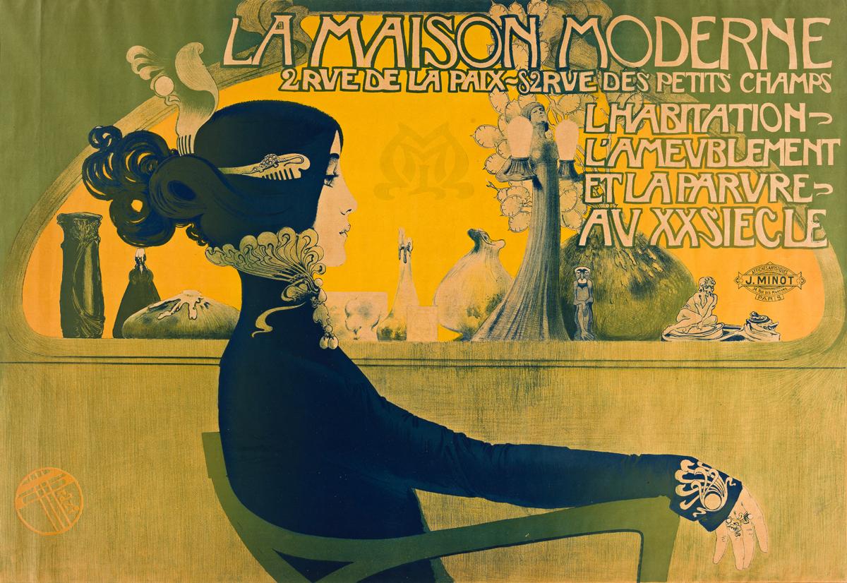 MANUEL ORAZI (1860-1934).  LA MAISON MODERNE. 1900. 32x46 inches, 82x118 cm. J. Minot, Paris.
