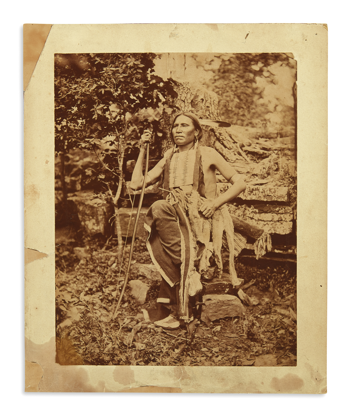(AMERICAN-INDIANS--PHOTOGRAPHS)-Hillers-John-K;-photographer-Large-portrait-of-Little-Bear-of-the-Cheyennes