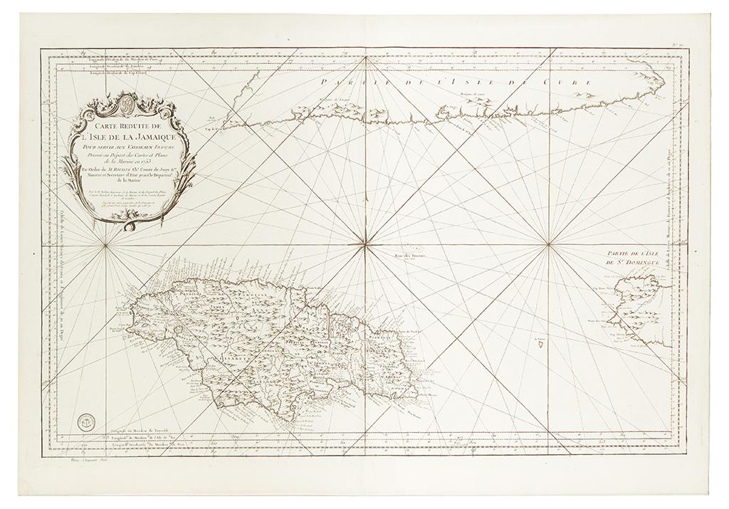 (JAMAICA.) Bellin, Jacques-Nicolas. Carte Reduite de lIsle de la Jamaique pour servir aux Vaisseaux Français.