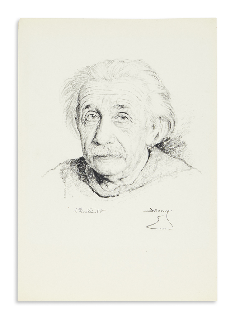 (SCIENTISTS.) EINSTEIN, ALBERT. Portrait of him looking at the viewer, a graphite drawing by S.N. Swamy, dated and Signed, A. Einstein