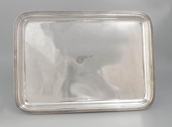 (AVIATION.) Pan American Airways. Beautiful silver serving tray by International Silver,