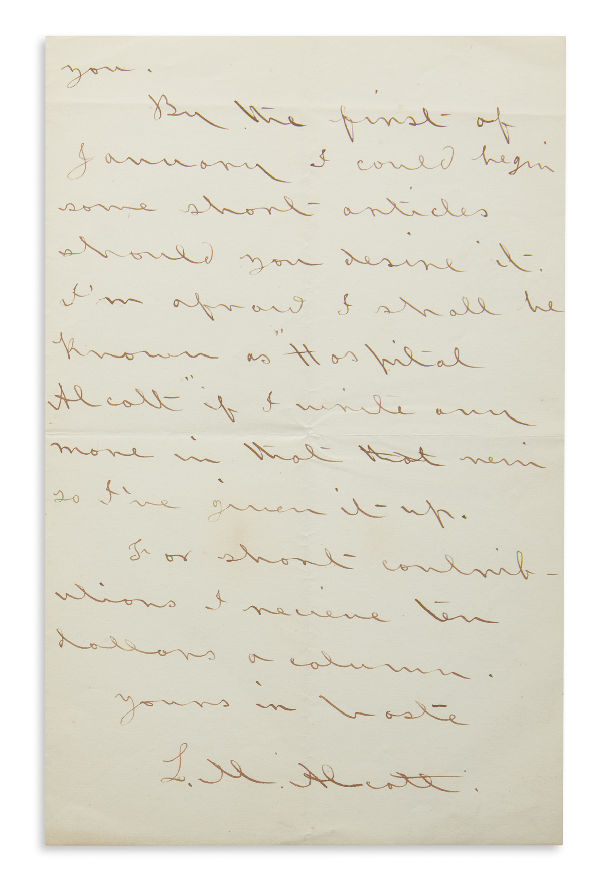 ROBERTS BROTHERS WILL NOT ALLOW ME TO WRITE CONTINUED TALES LOUISA MAY ALCOTT. Autograph Letter Signed, L...