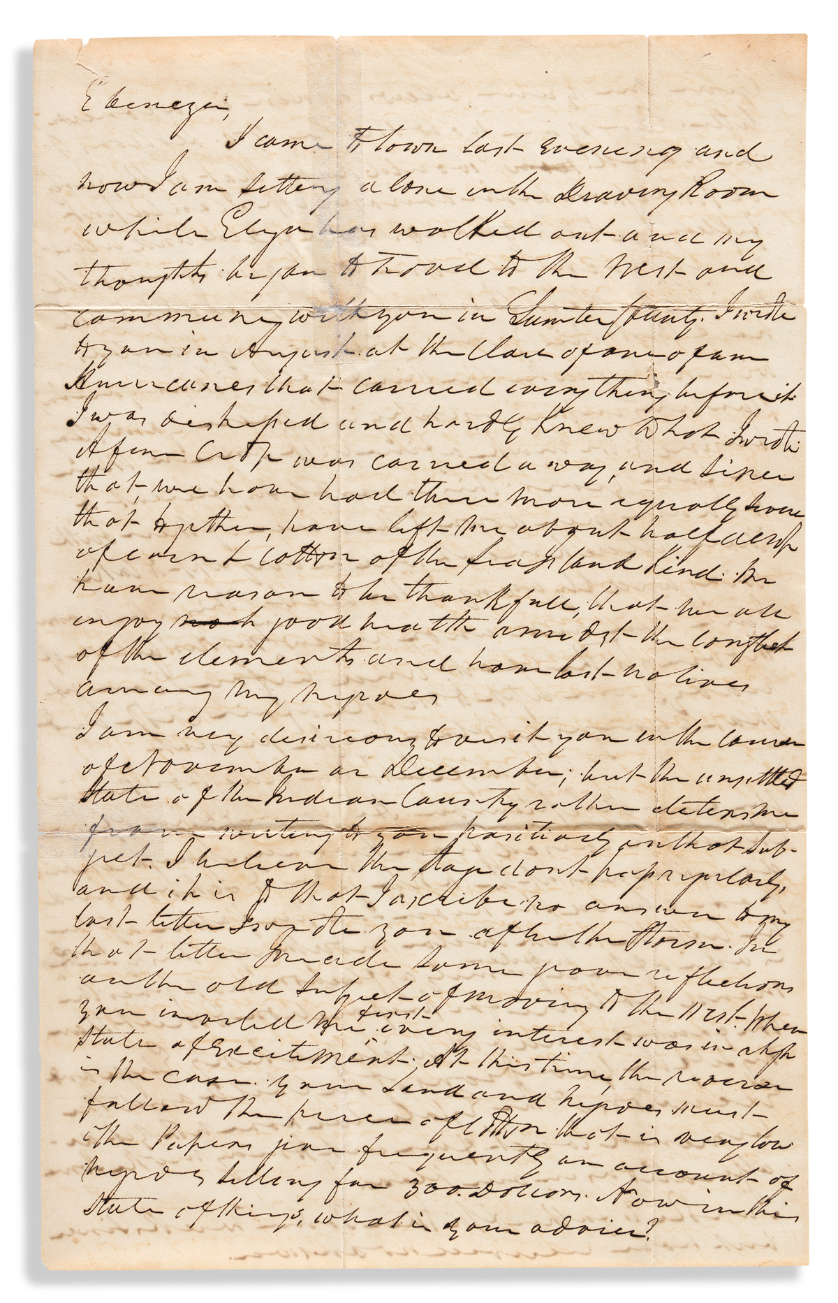 (AMERICAN INDIANS.) Robert H. Pettigrew. Letter by a Georgia planter discussing the Creek War in Alabama.