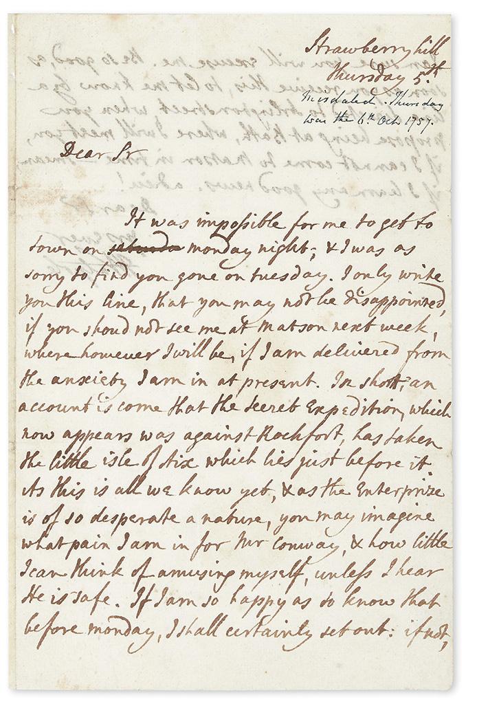 WALPOLE, HORACE. Autograph Letter Signed, HWalpole, to George Selwyn (Dear Sir),